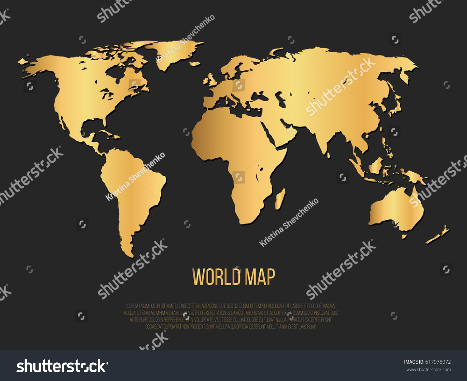 Gold world map on black background stock vector 617978072 shutterstock gold world map on black background vector gumiabroncs Images