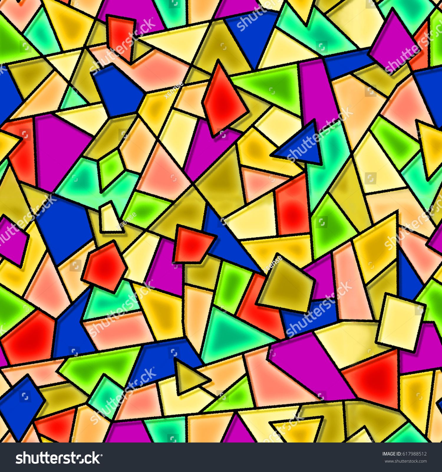 Abstract Stained Glass Detail Tones Blue Stock Illustration