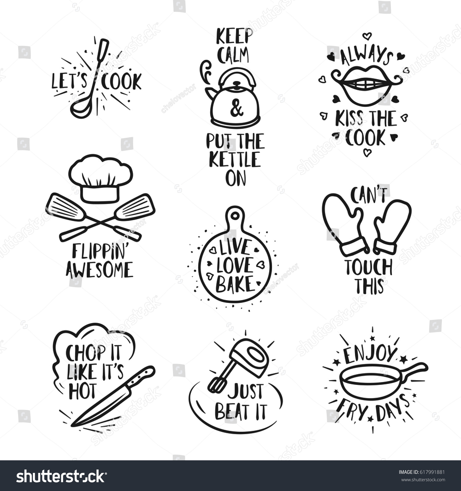 hand drawn kitchen quotes set phrases and funny sayings about cooking food wall decor - Funny Kitchen Quotes