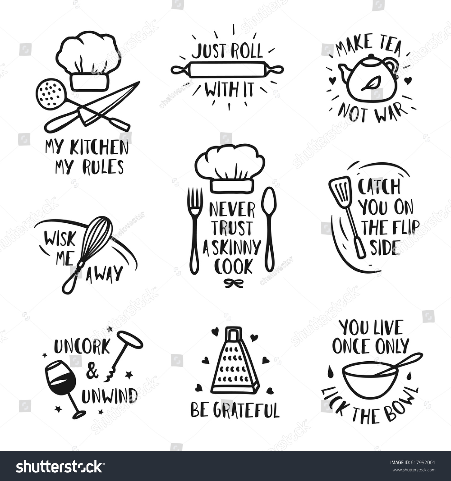 Hand Drawn Kitchen Posters Set Quotes Stock Vector 617992001 ...