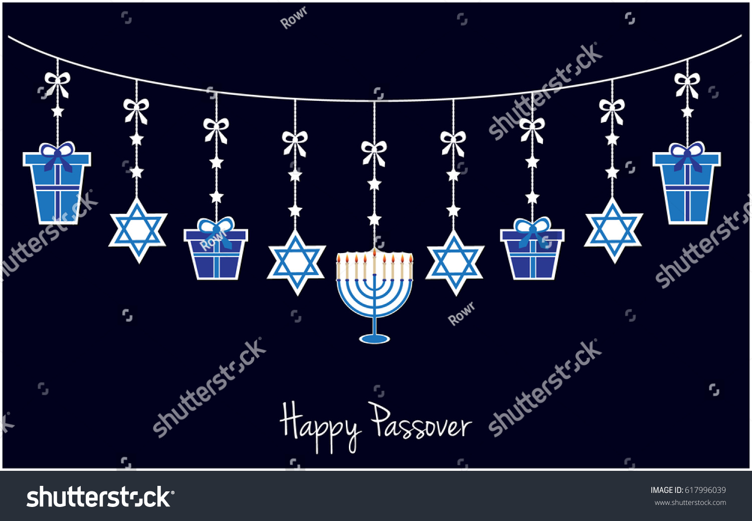 Happy Passover Greeting Card Background Jewish Stock Vector Royalty