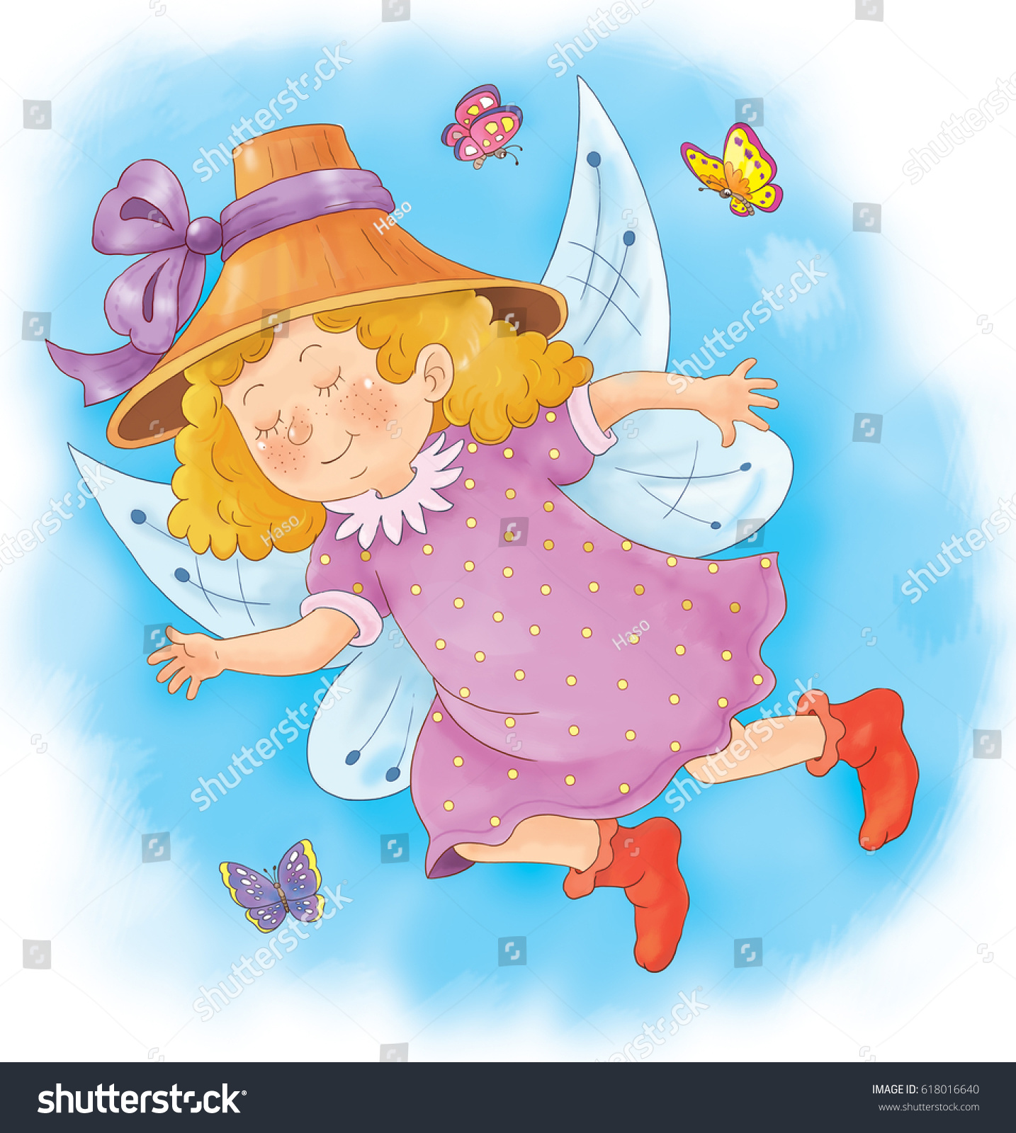 Cute Pretty Fairy Flying Sky Butterflies Stock Illustration ...