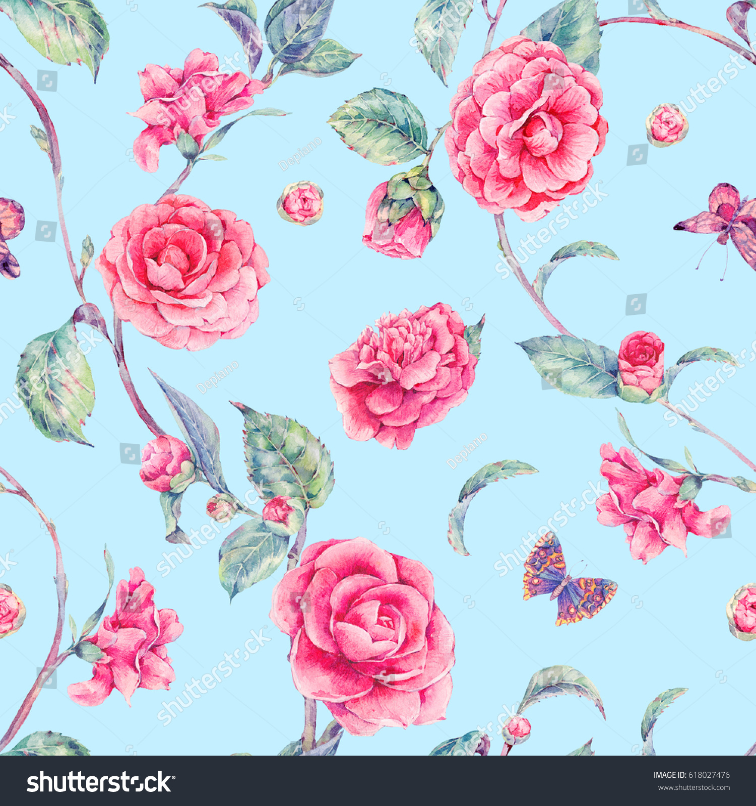 Vintage Garden Watercolor Natural Seamless Pattern With Pink Flowers