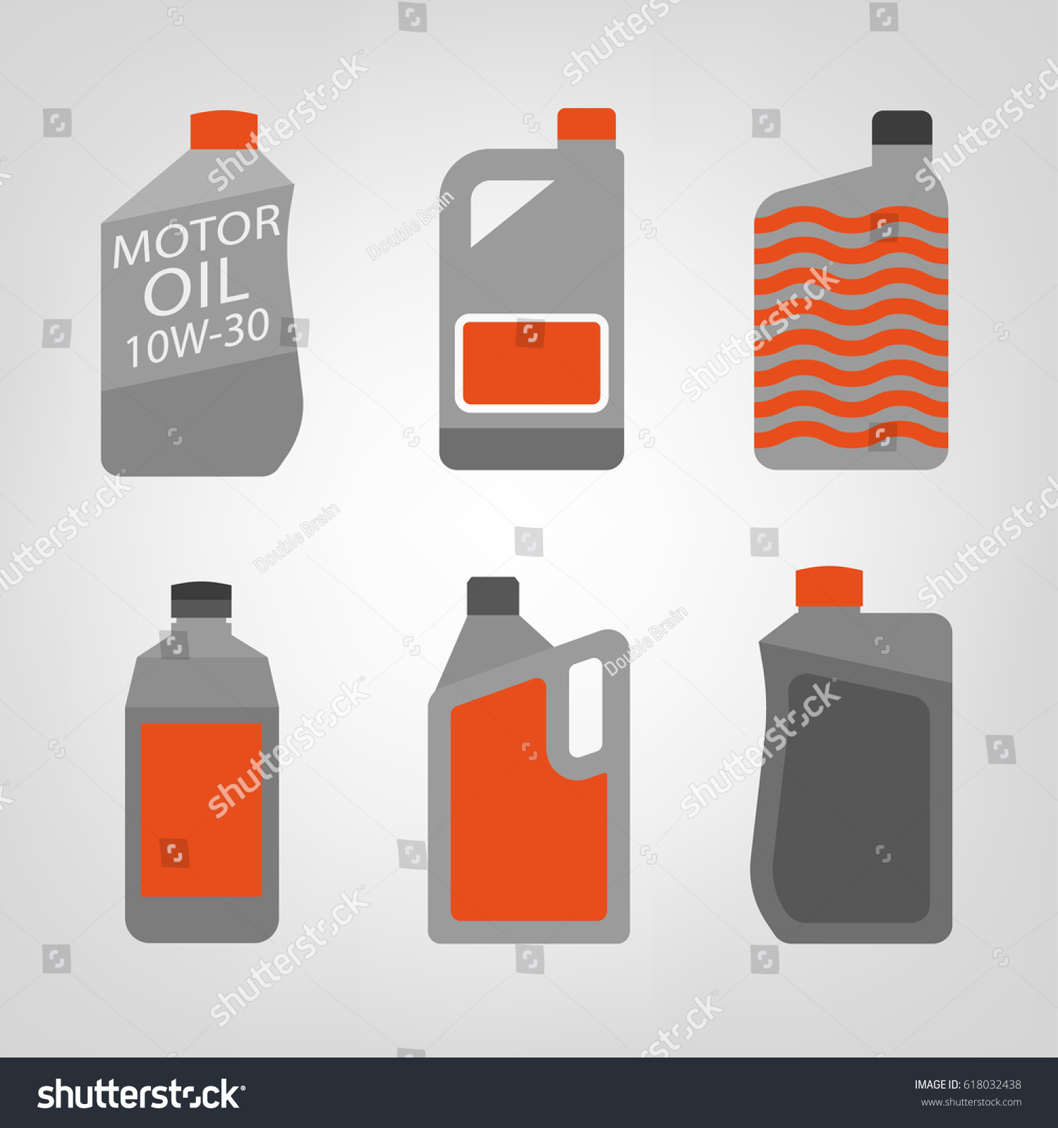 Synthetic Oil Icons Set Different Motor Stock Vector