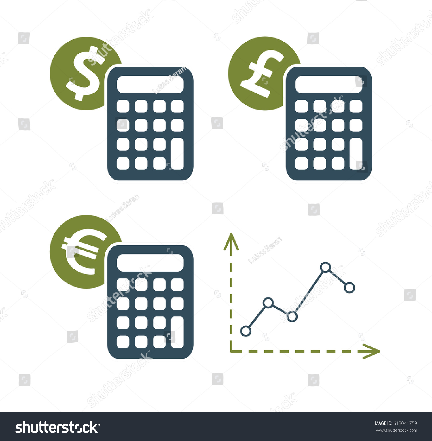Currency symbols dollar euro pound calculator stock vector currency symbols of dollar euro and pound with calculator and growing market chart geenschuldenfo Image collections