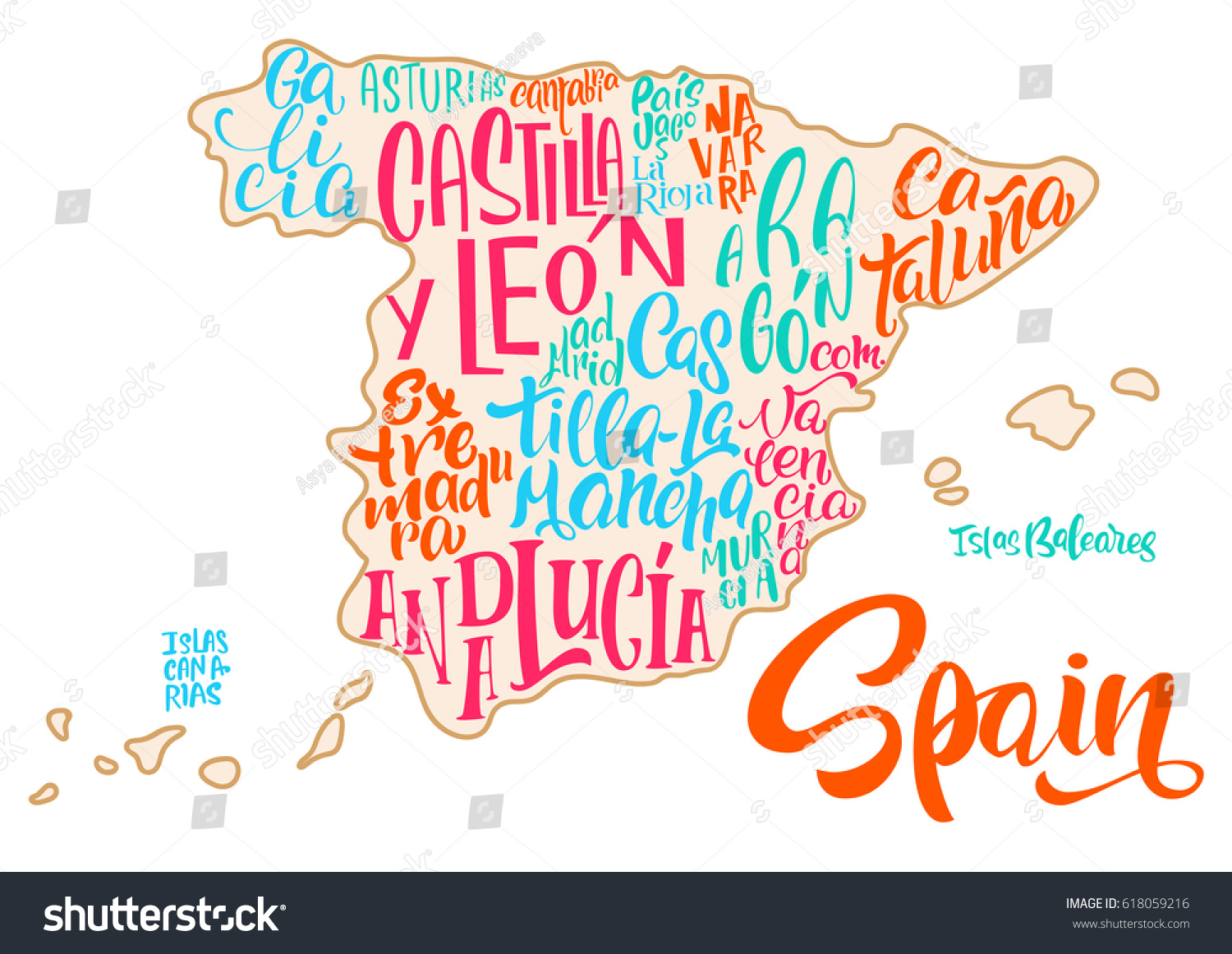 Silhouette Map Spain Handwritten Names Regions Stock Vector