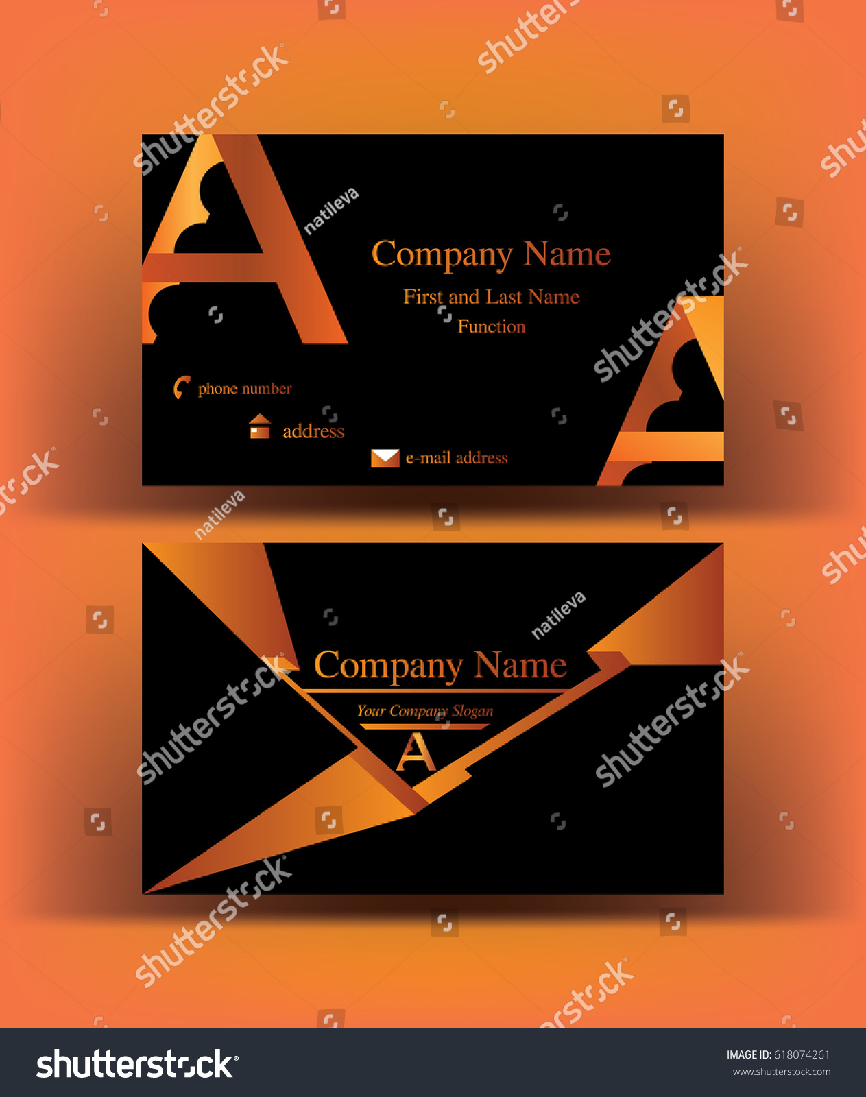 bold futuristic black business card abstract stock vector