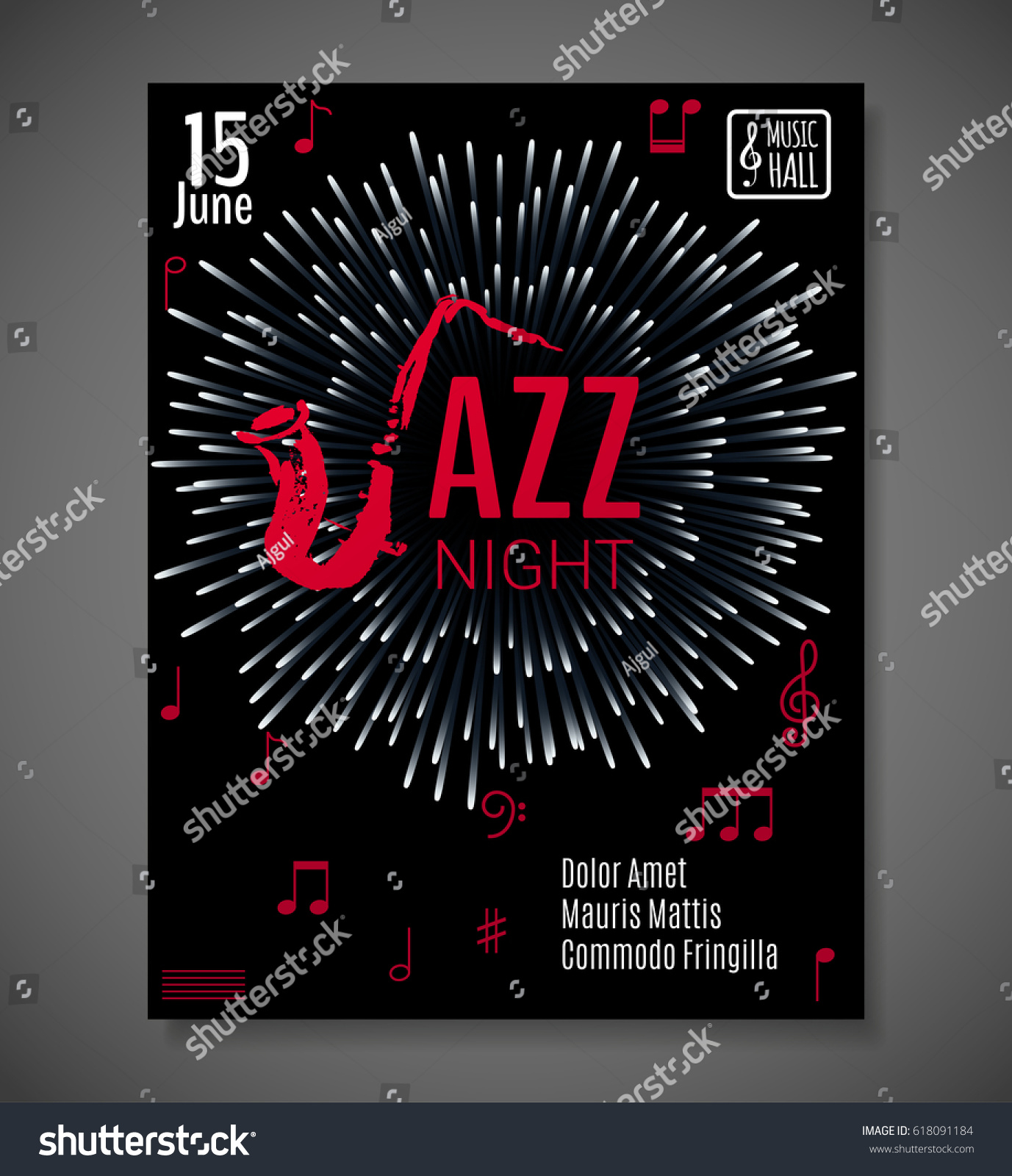 Jazz Night background Vector design for poster flyer card