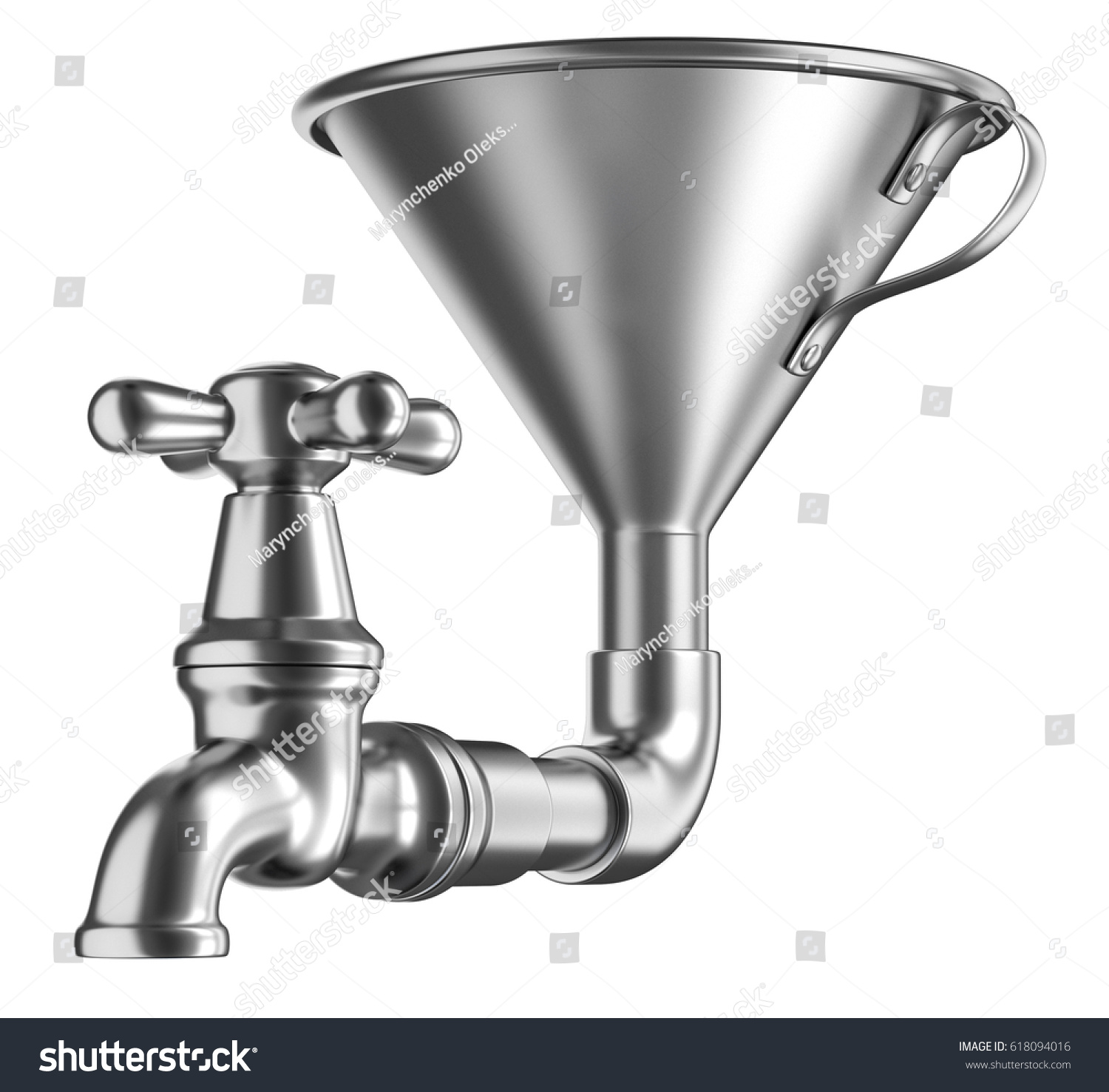 Steel Funnel Faucet 3 D Illustration Isolated Stock Illustration ...