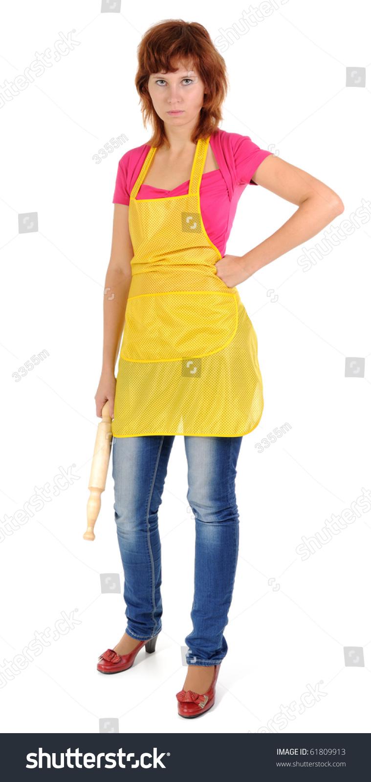 White apron ladies - Woman Wearing Apron Isolated On White