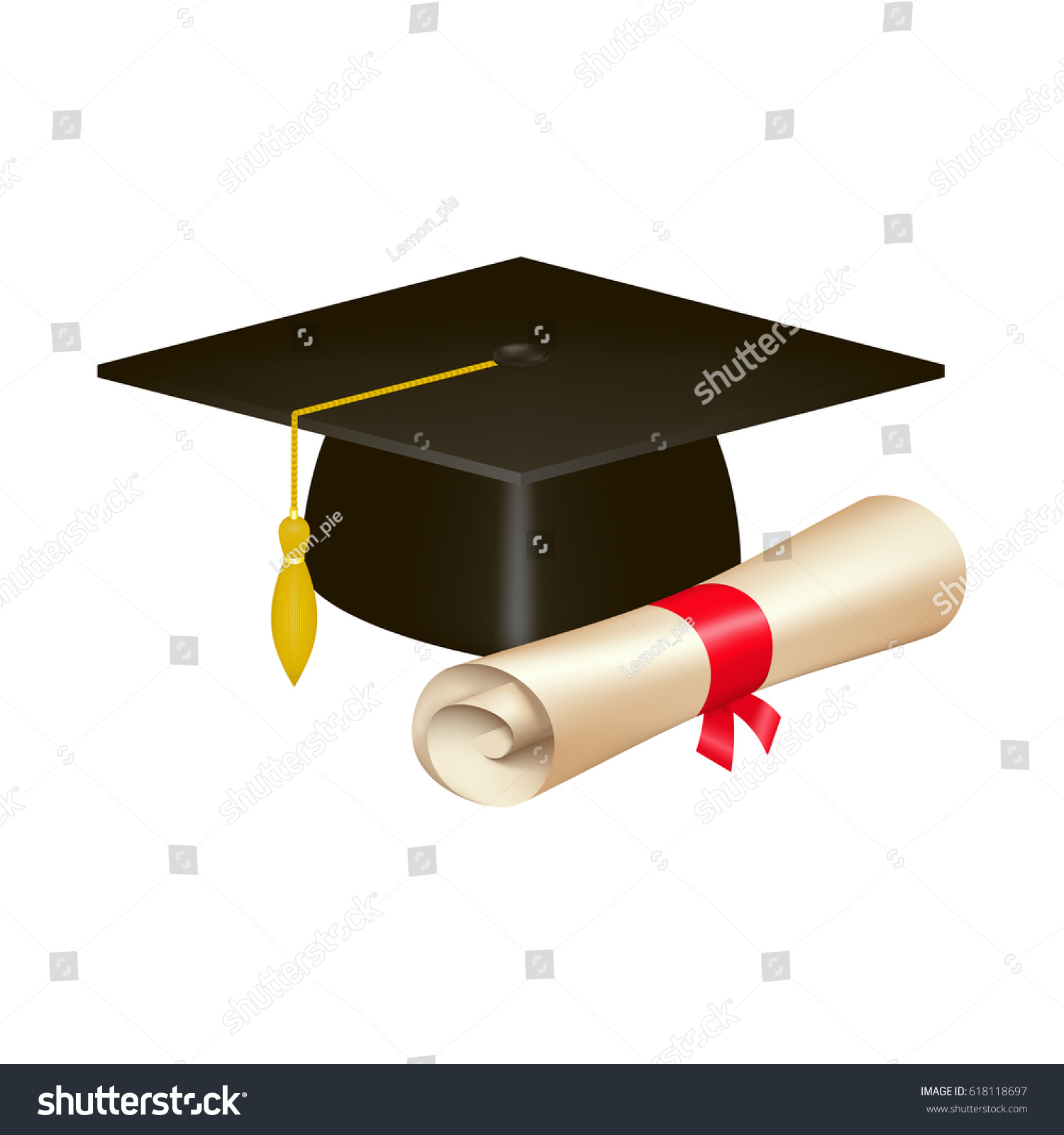 Realistic Graduation Cap Diploma Scroll Isolated Stock-Vektorgrafik ...