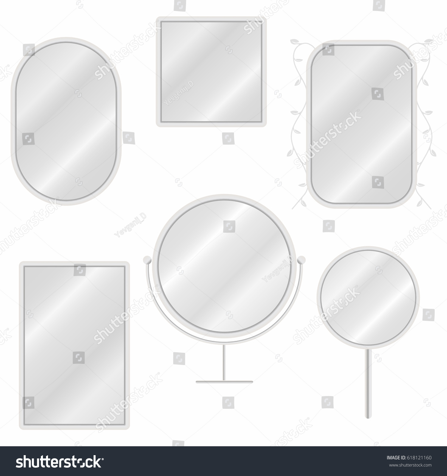 mirror reflection different clipart. mirrors set in different forms with blurry reflection. vintage and modern mirrors. vector mirror reflection clipart o