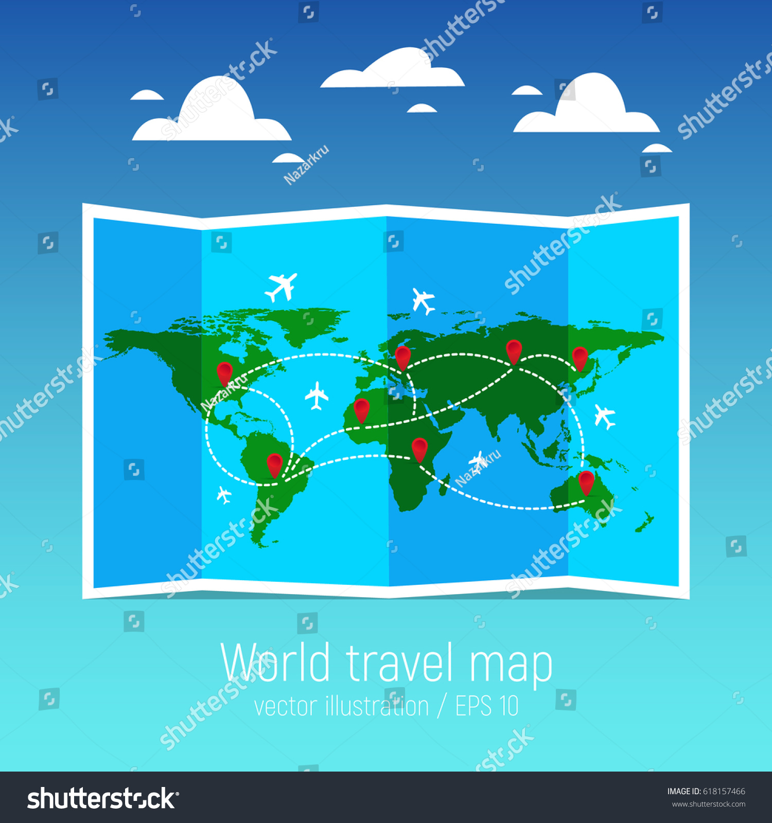 Travel tourism map folded world map stock photo photo vector travel and tourism map folded world map with airplanes and markers vector illustration gumiabroncs Image collections