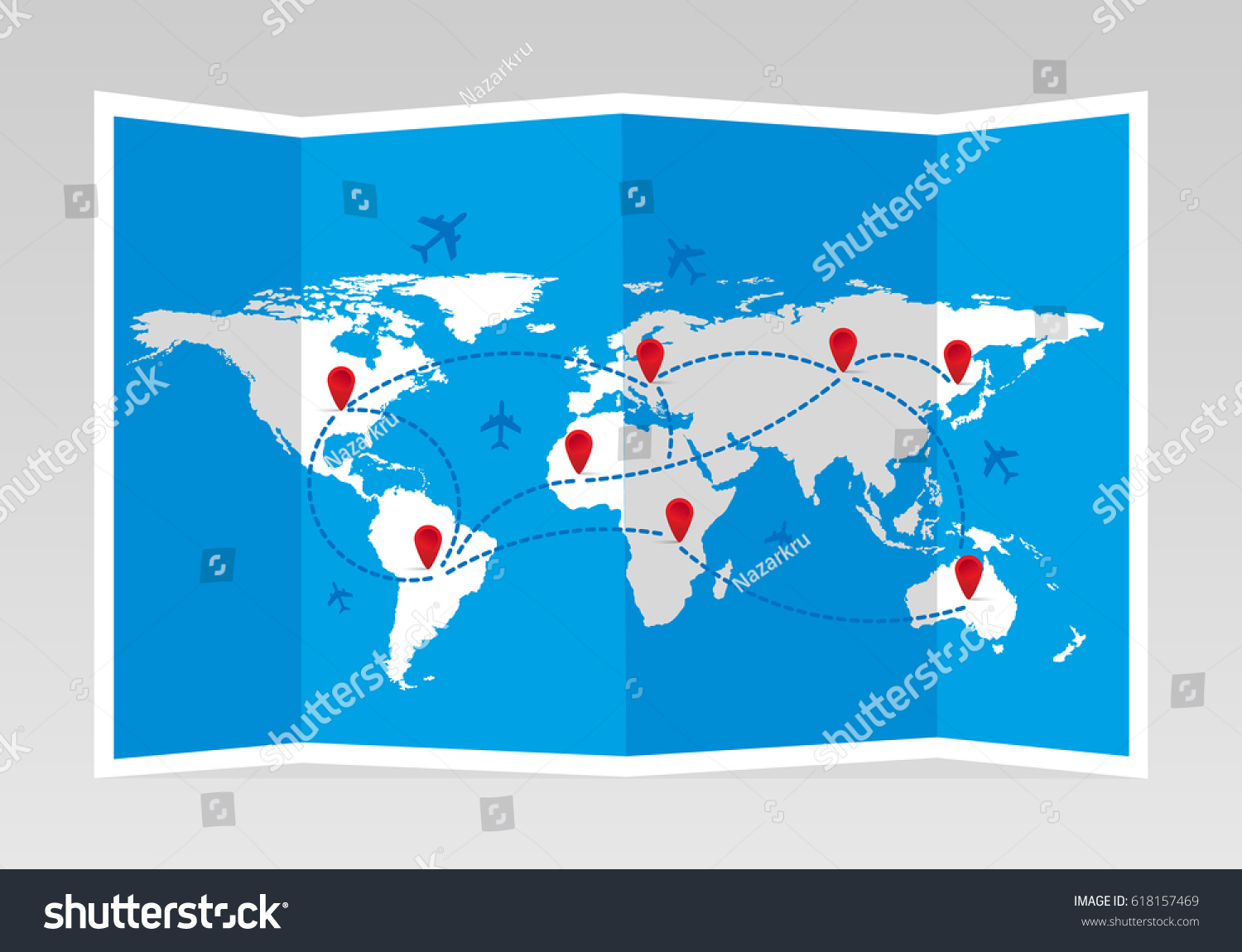 Folded world map airplanes markers travel stock vector 618157469 folded world map with airplanes and markers travel and tourism vector illustration gumiabroncs Choice Image