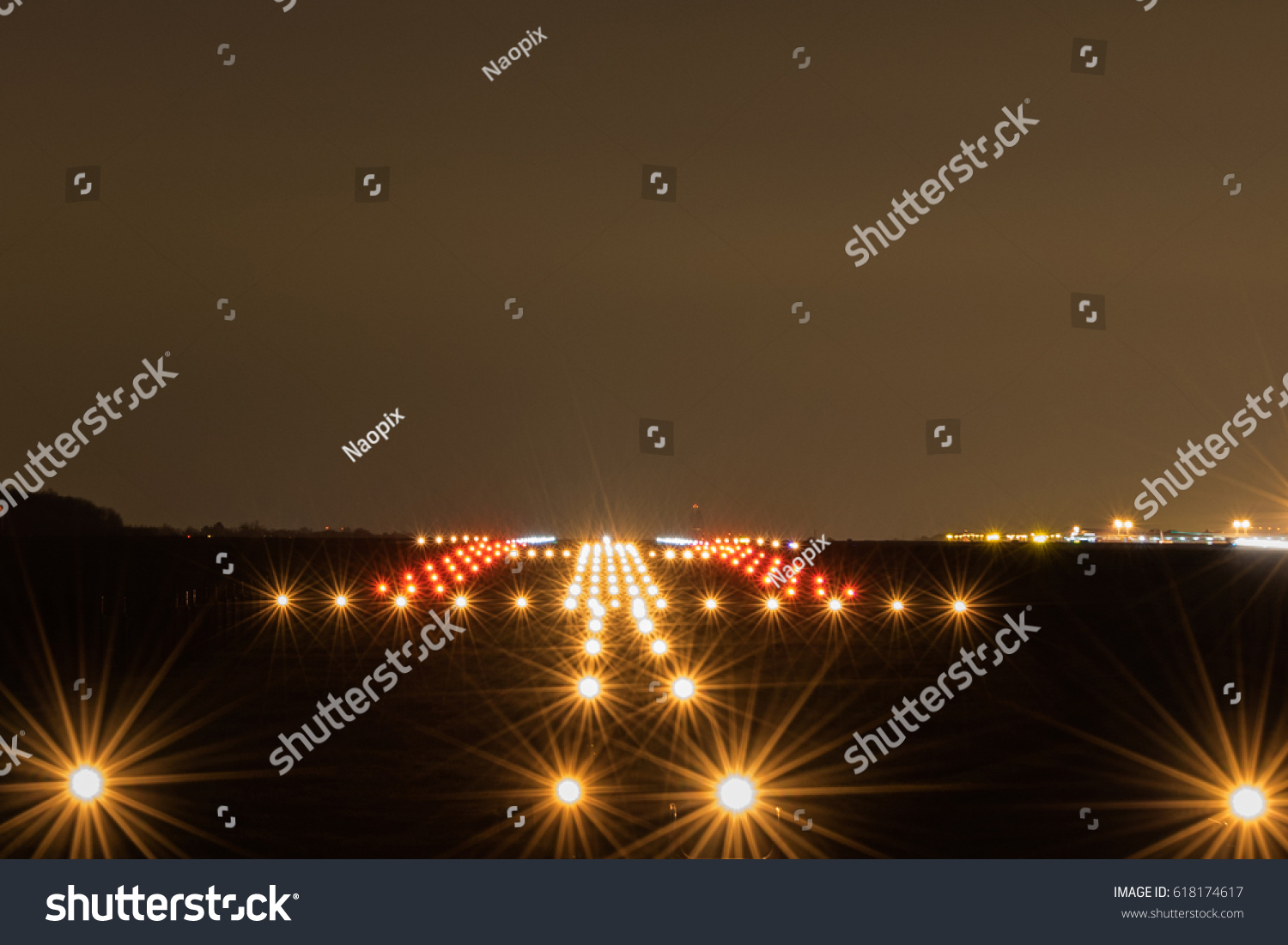 Landing strip night lights on stock photo edit now shutterstock landing strip at night with lights on mozeypictures Image collections