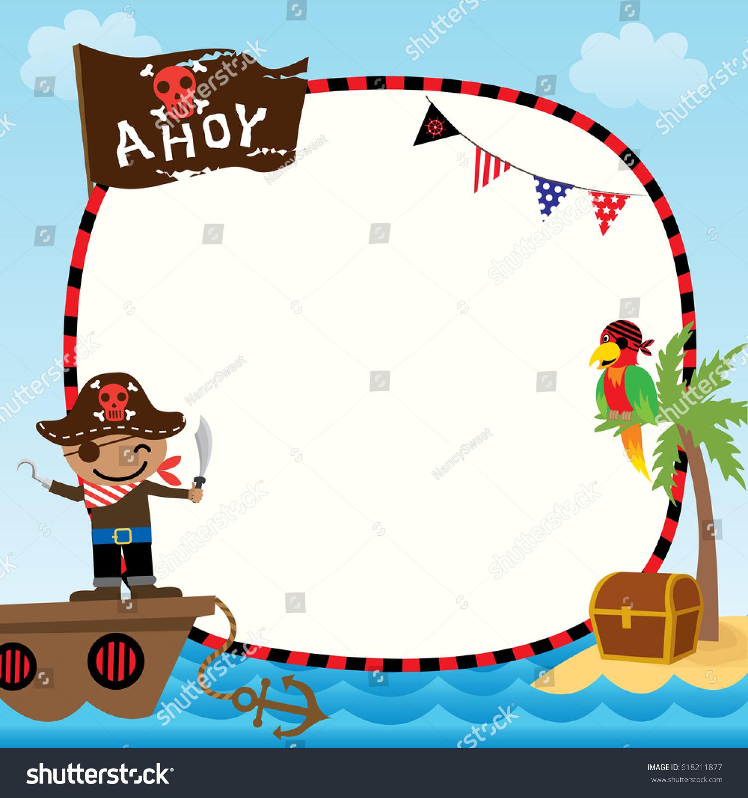 illustration vector cute kids pirate ship stock vector 618211877