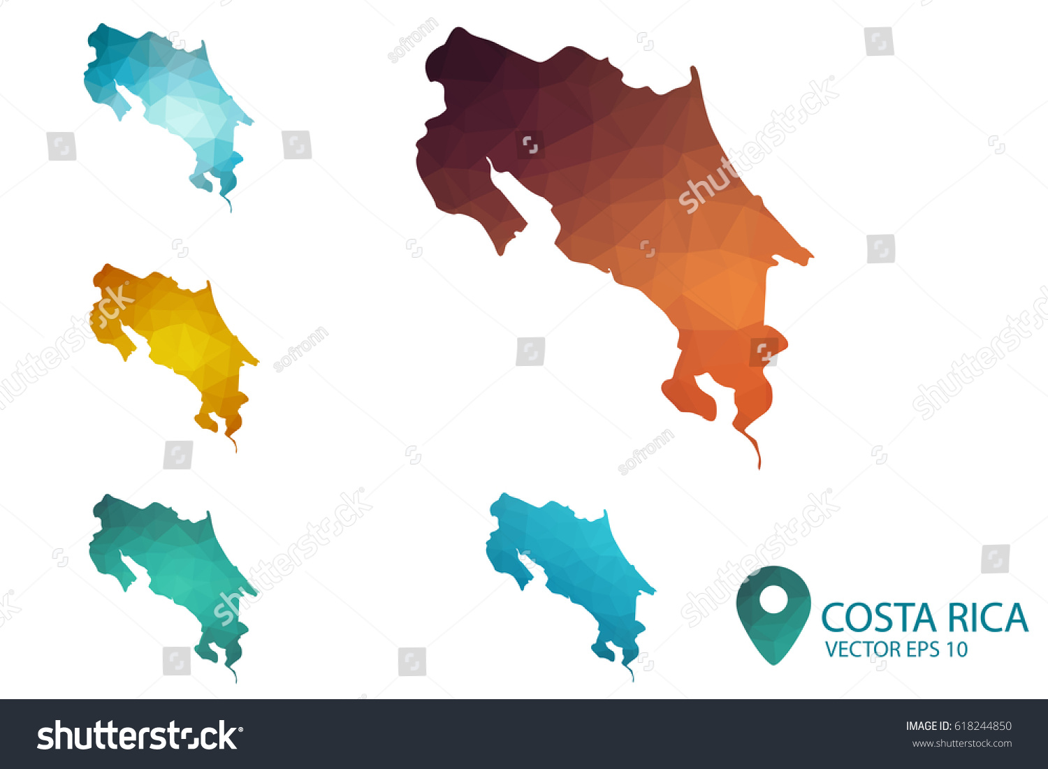 Set costa rica maps bright gradient stock vector 618244850 set of costa rica maps bright gradient map of country in low poly style gumiabroncs Image collections