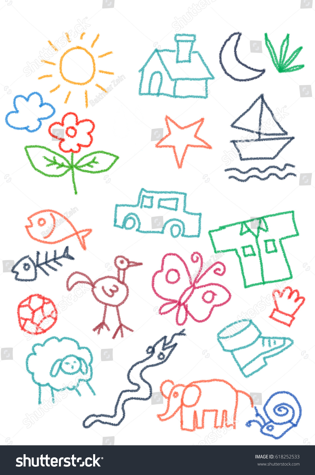 Kids Doodle Colorfull Random Object Crayon Stock Illustration Butterfly Diagram For Icon Collection Car Sun Home