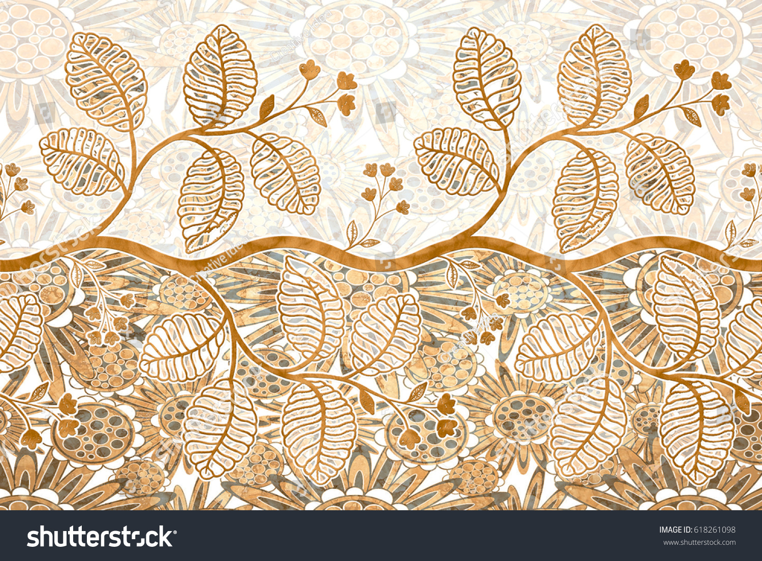 Abstract Home Decorative Leaf Wall Tiles Stock Illustration ...