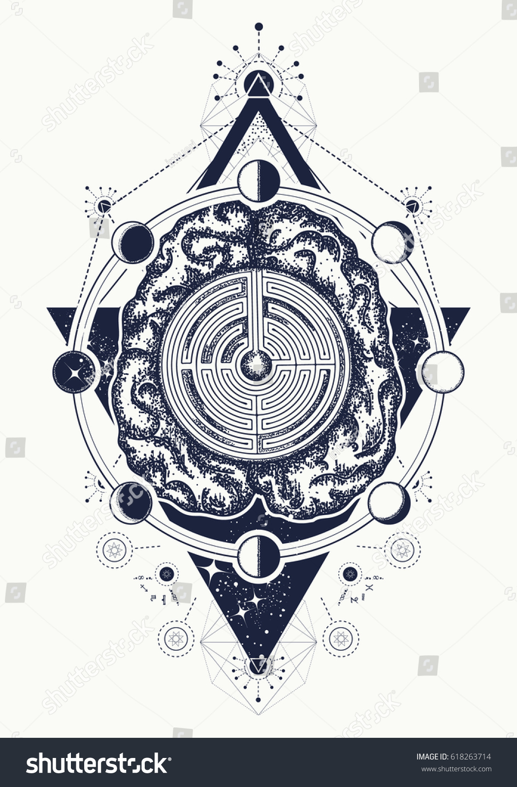 Brain Labyrinth Tattoo Art Symbol Psychology Stock Vector Royalty