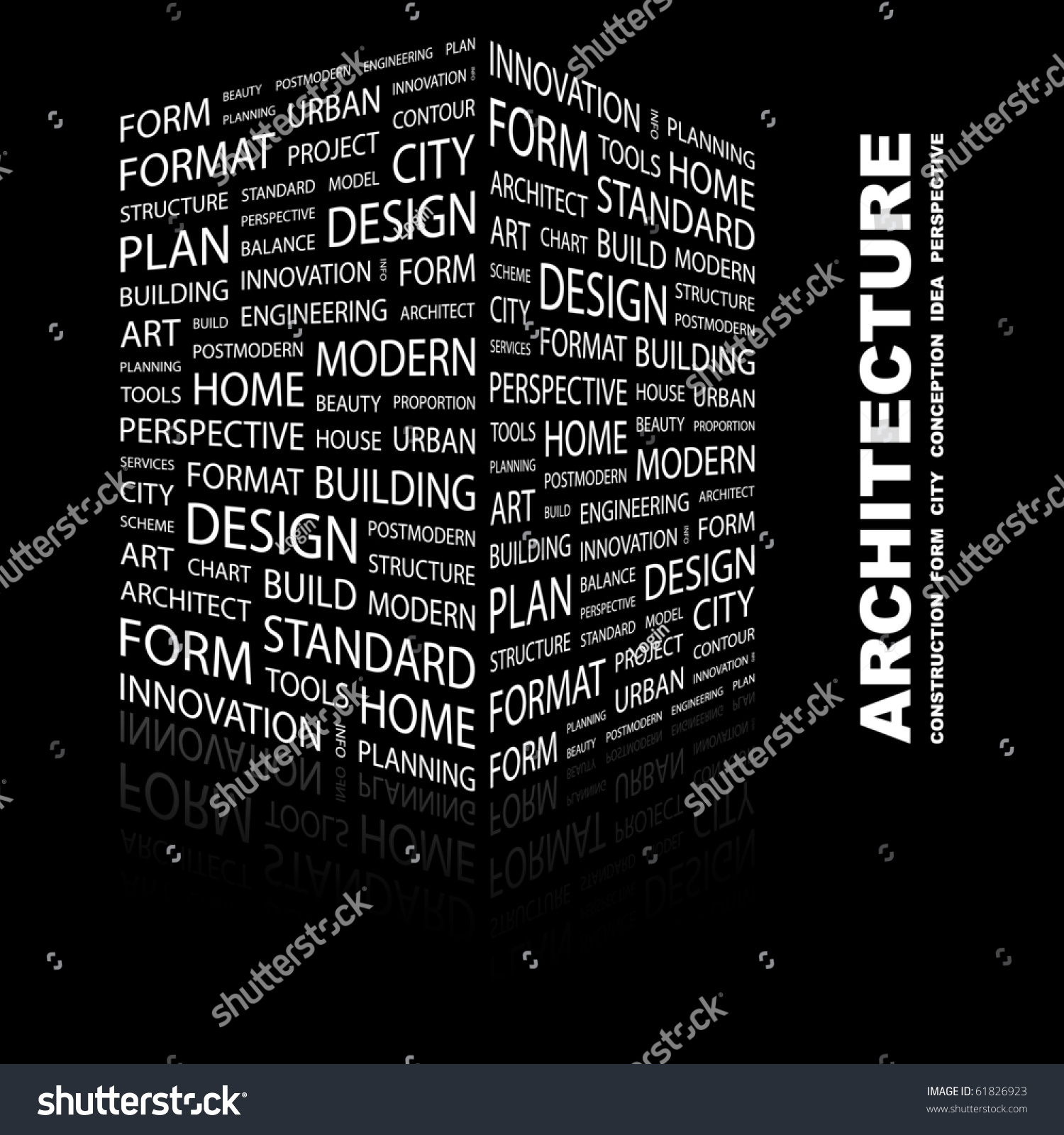 Contemporary Modern Architecture Terms On Black Background Illustration With Different Association S Inside Decorating