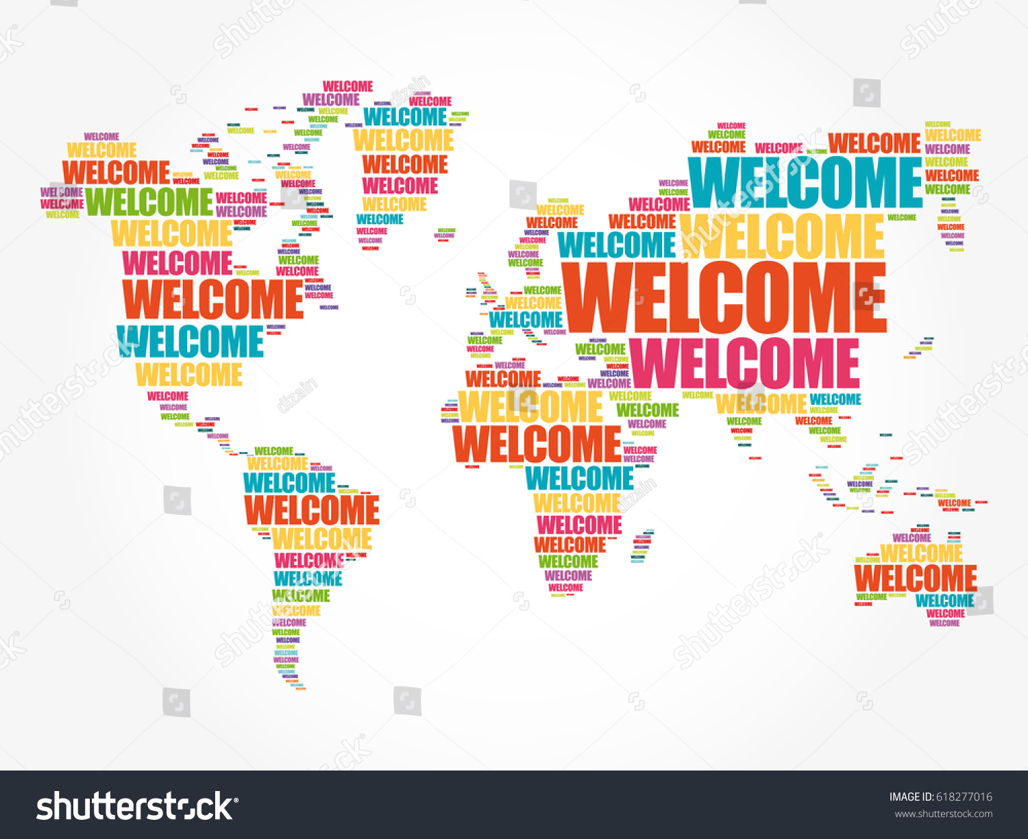 Welcome world map typography word cloud vectores en stock 618277016 welcome world map in typography word cloud business conceptual background gumiabroncs Choice Image