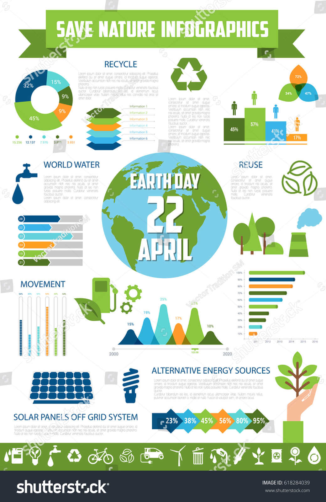 Save nature infographic template earth day stock vector for Facts about energy conservation