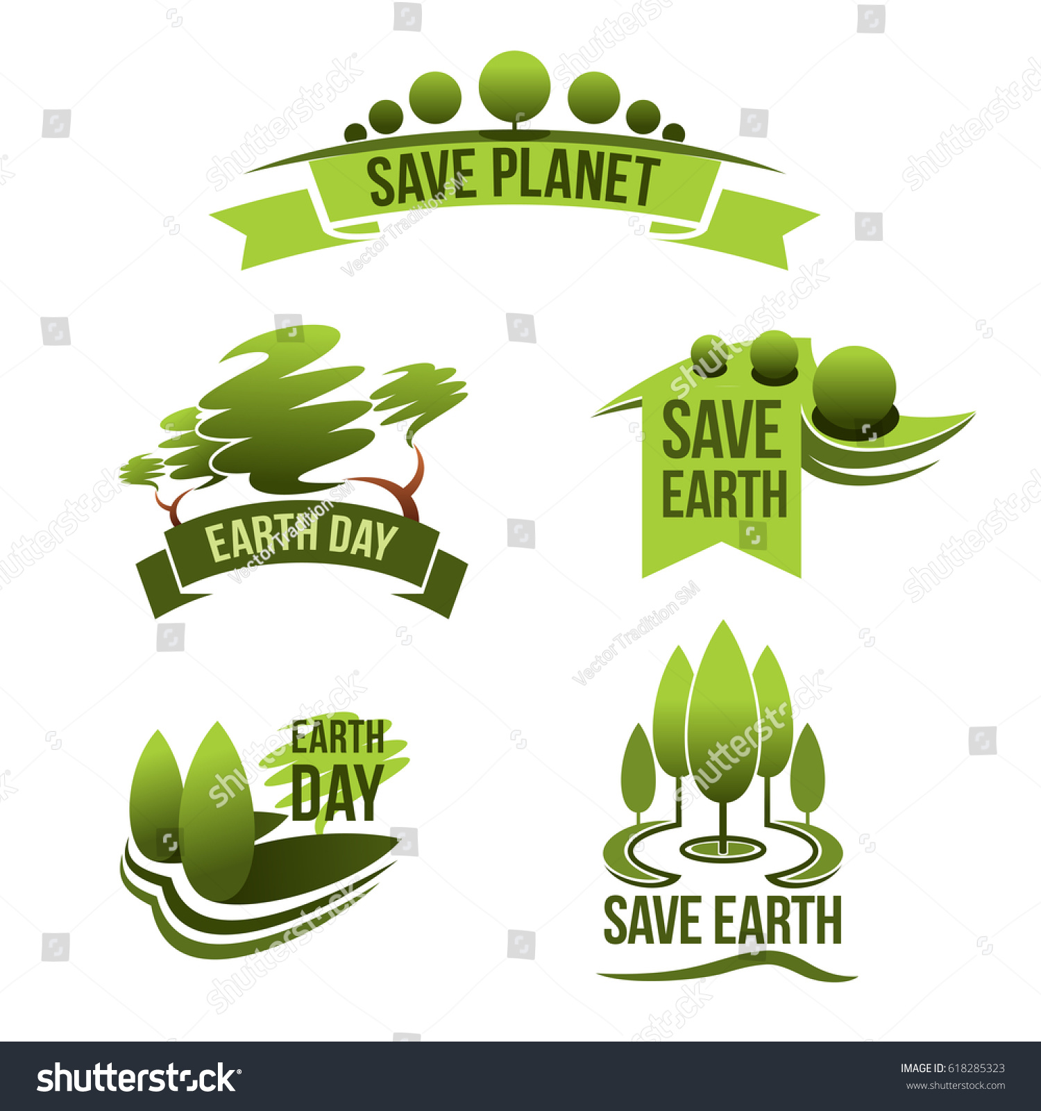 Earth Day Vector Icons Save Planet Stock Vector Royalty Free