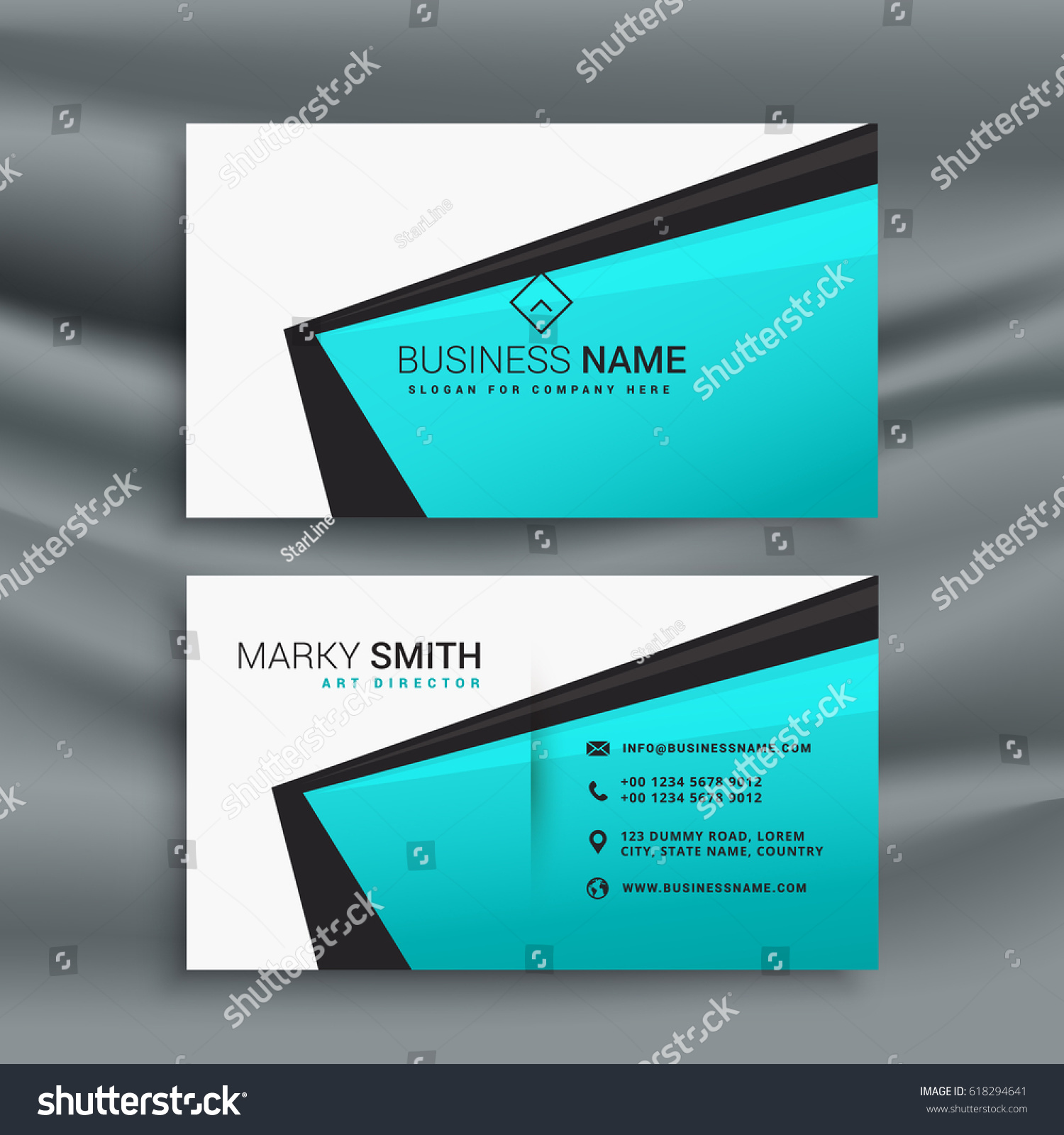 elegant blue business card design template stock vector