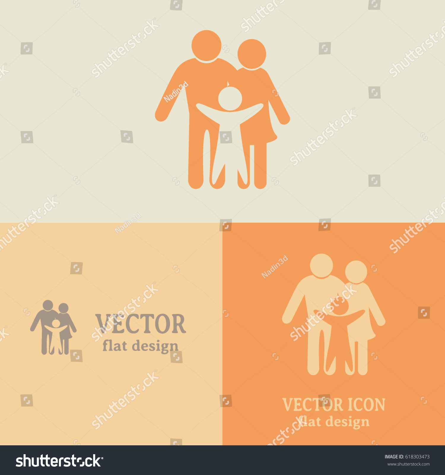 Business Cards Design Happy Family Icon Stock Vector 618303473 ...