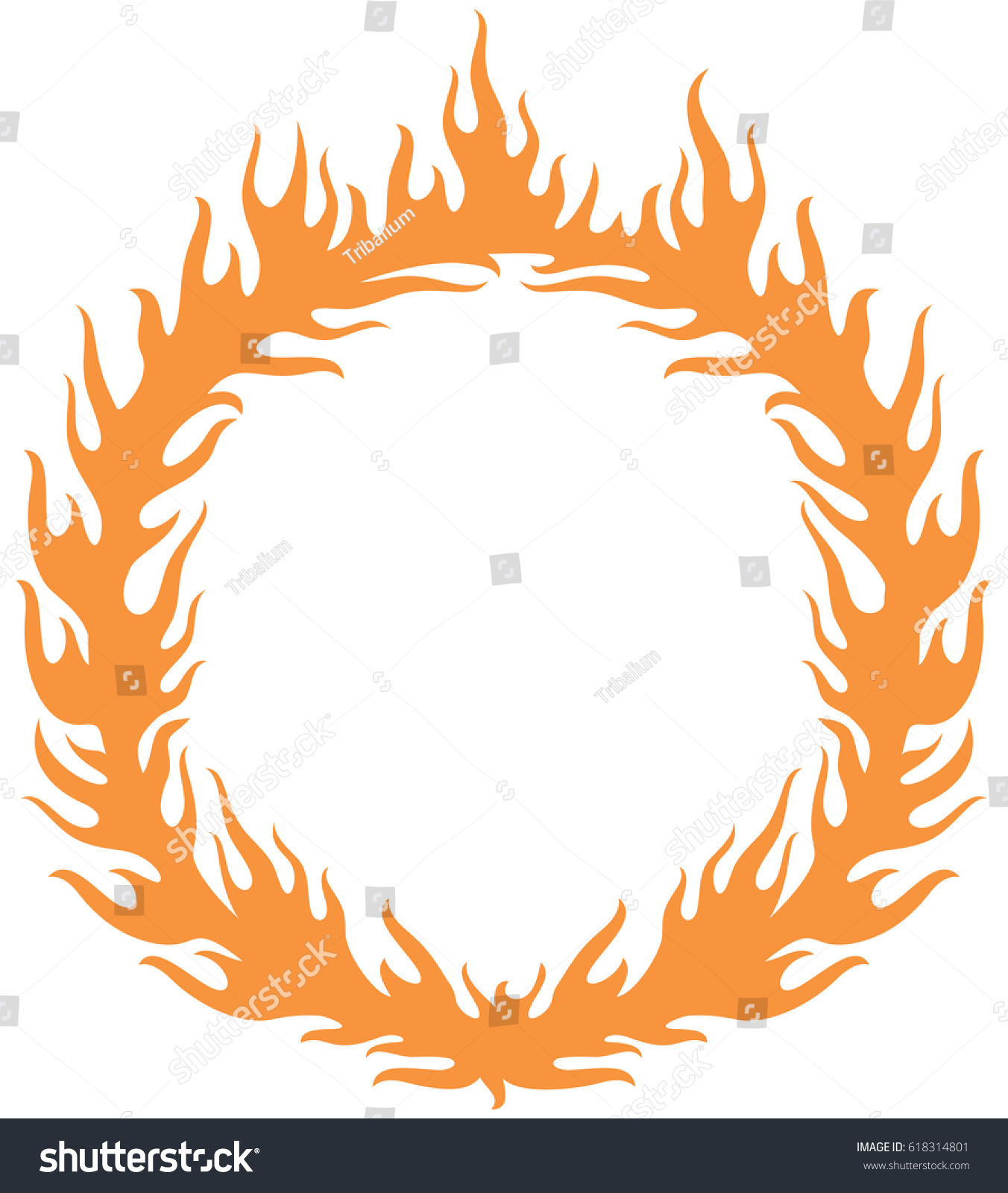 Charming Fiery Ring Burning (hoop In The Fire Vector Illustration)