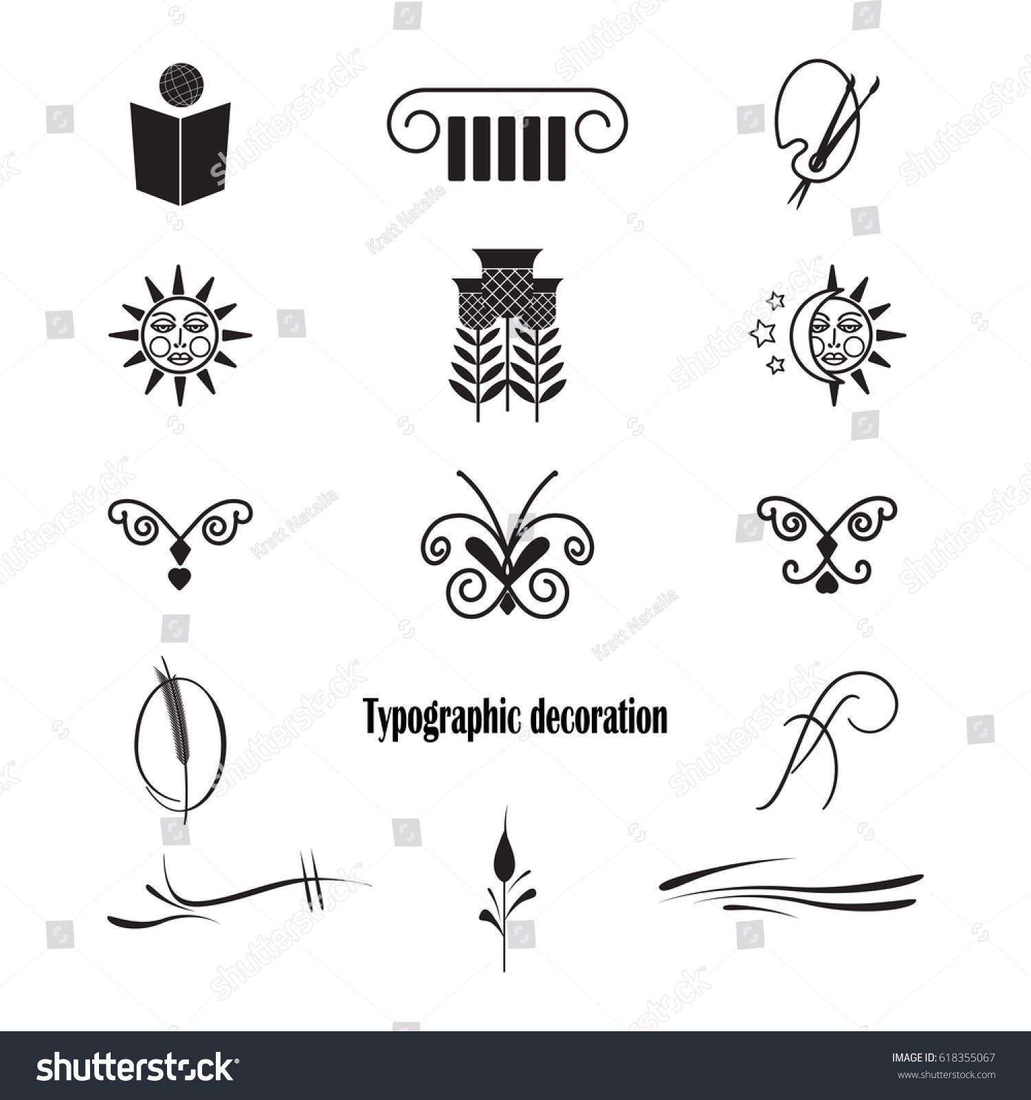 Typographic Decoration Made Vector Clean Minimalistic Stock Vector