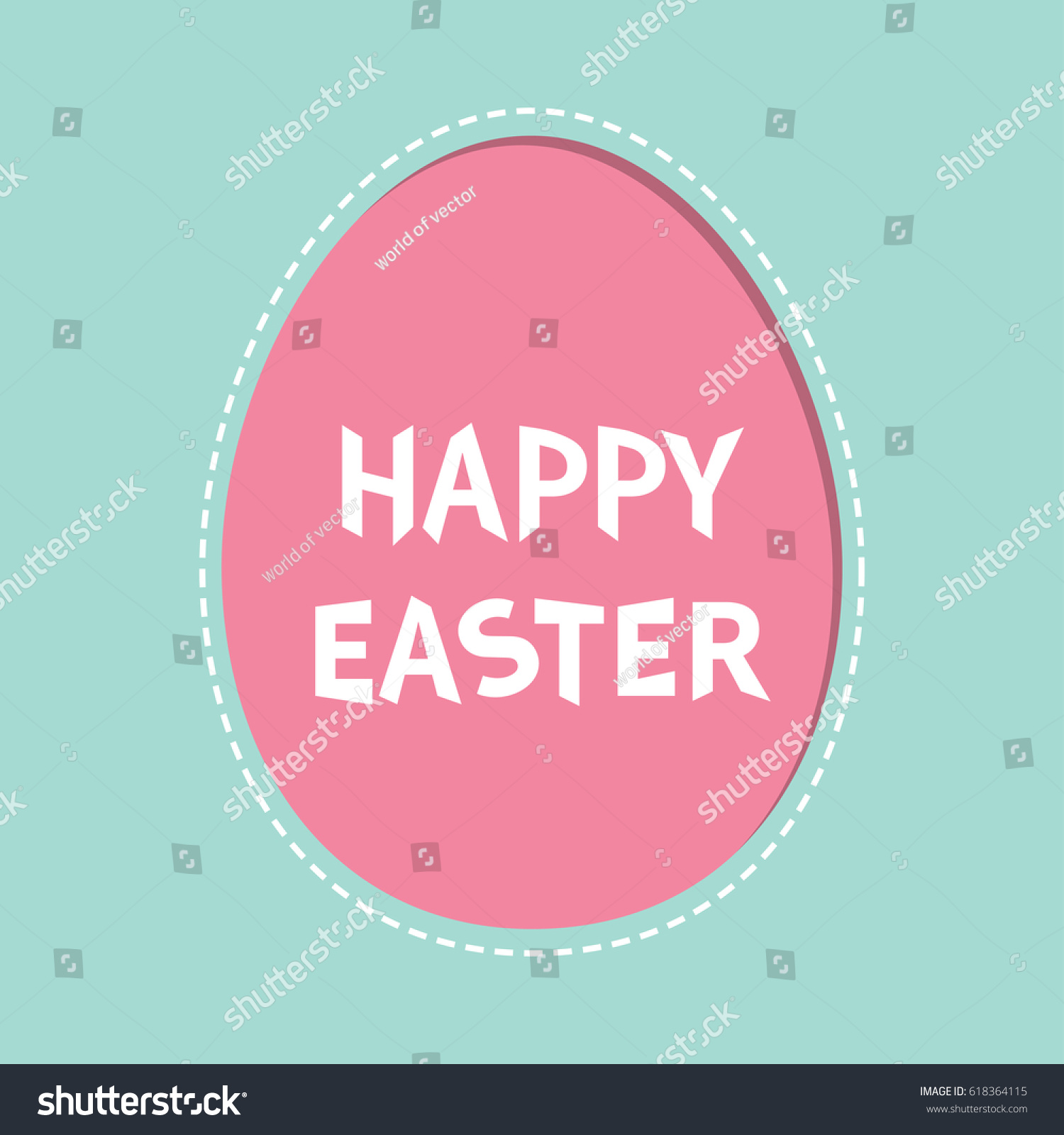 Happy Easter Text Painted Egg Frame Window Template Dash Line Contour Greeting Card