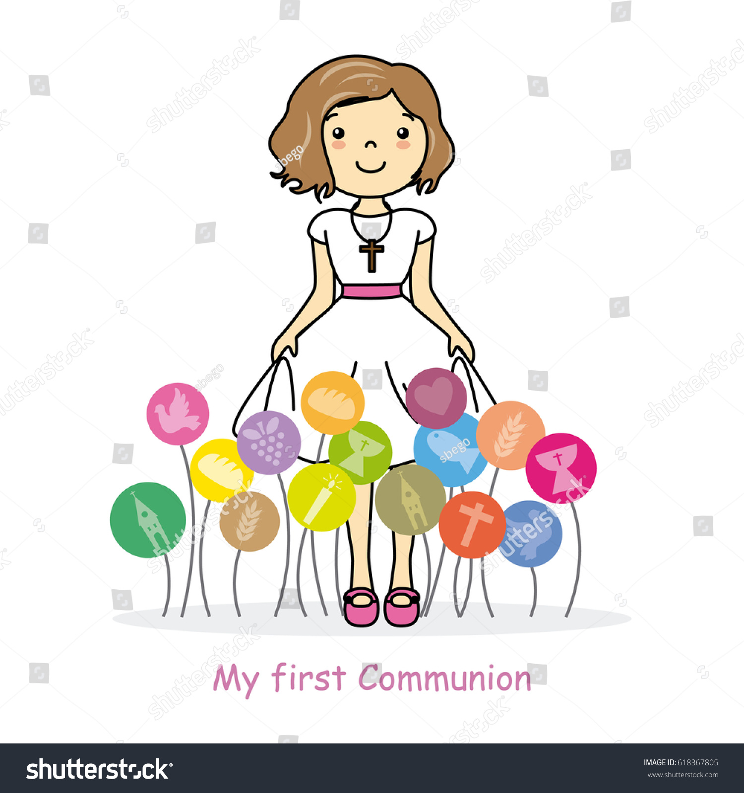 Uncategorized Girlspace my first communion girl space text stock vector 618367805 for text