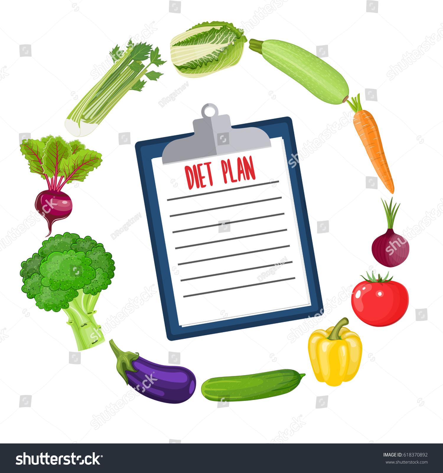 Diet Plan Schedule Healthy Food Diet Stock Illustration 618370892