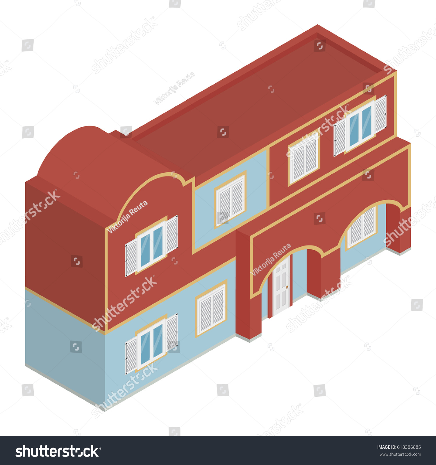 vector illustration isometric perspective 3d vintage stock