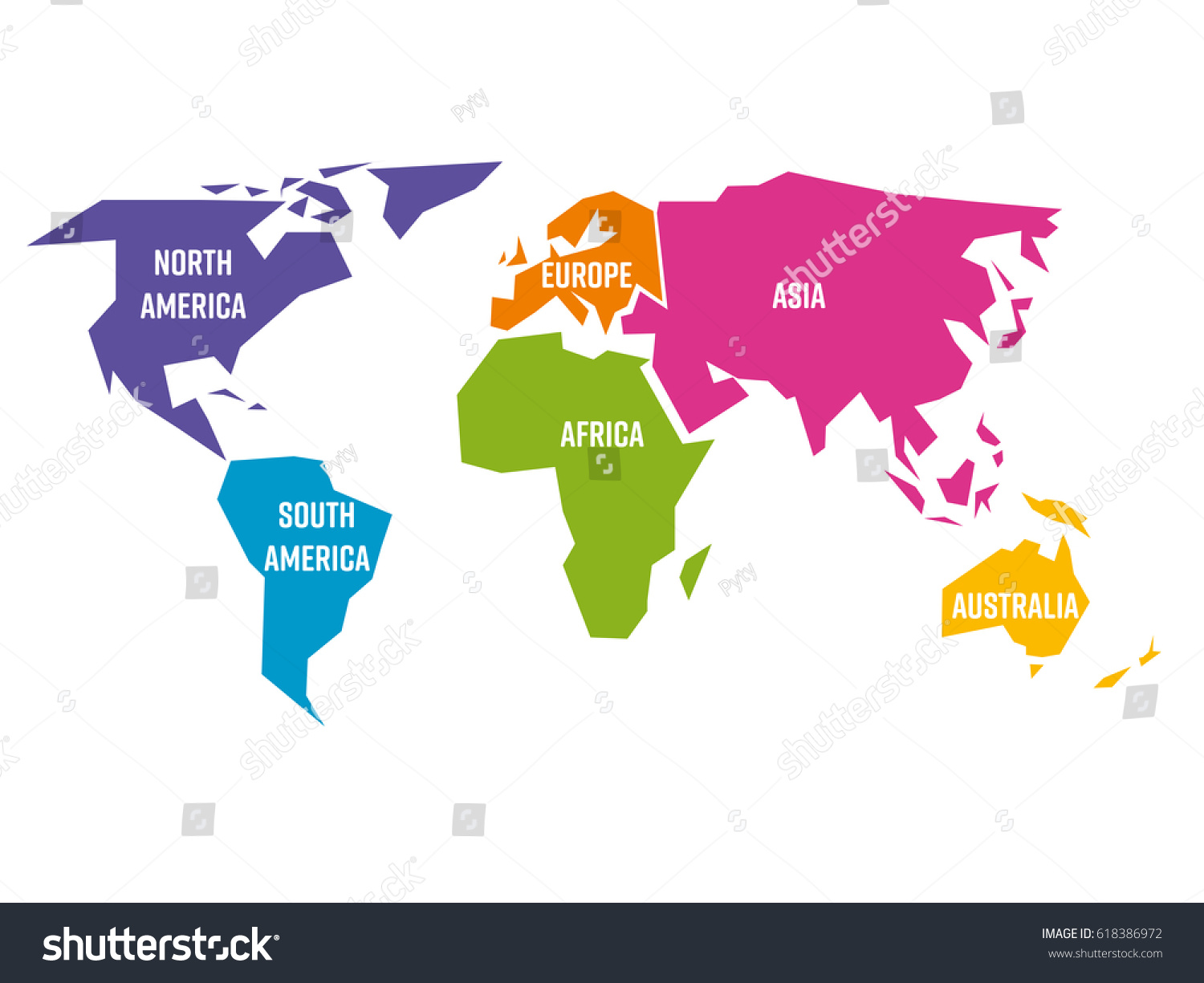 Simplified world map divided six continents vector de stock618386972 simplified world map divided to six continents south america north america africa gumiabroncs Images