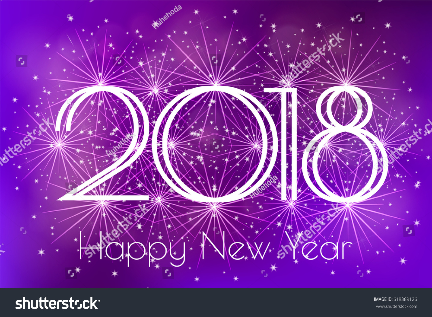 happy new year 2018 card with blue fireworks glowing fire on blurred blue purple background