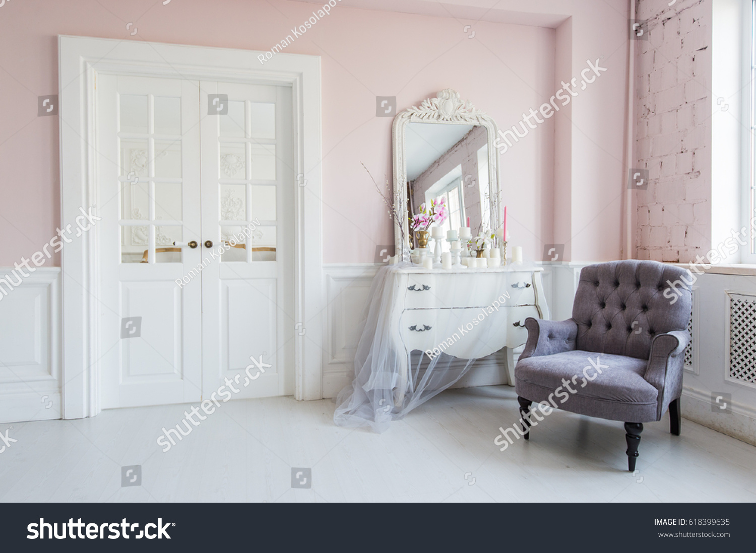 Classical Armchair Mirror Table Living Room Stock Photo 618399635 ...
