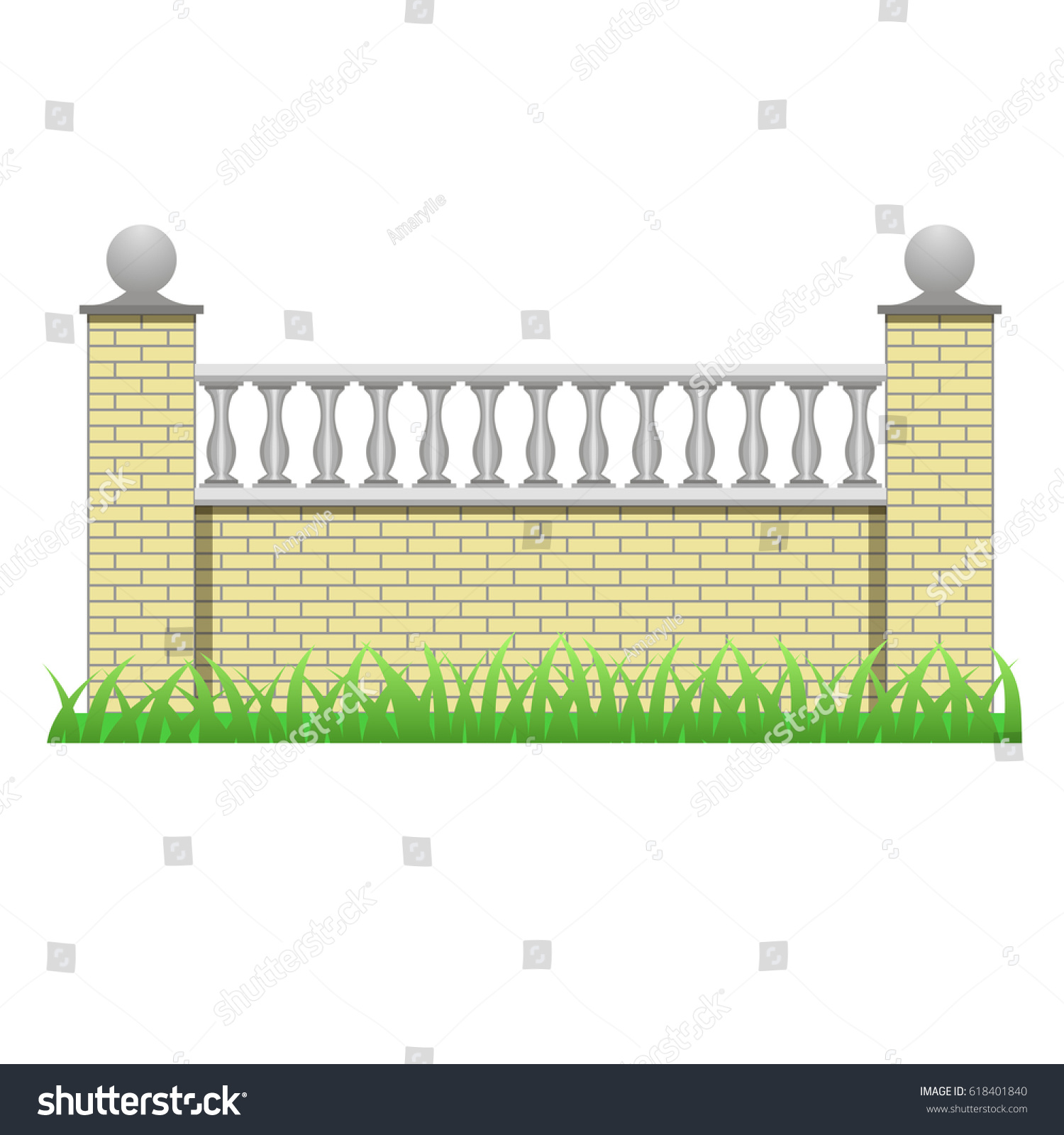 Brick Fence Wall Decorated Balusters Element Stock Vector 618401840 ...