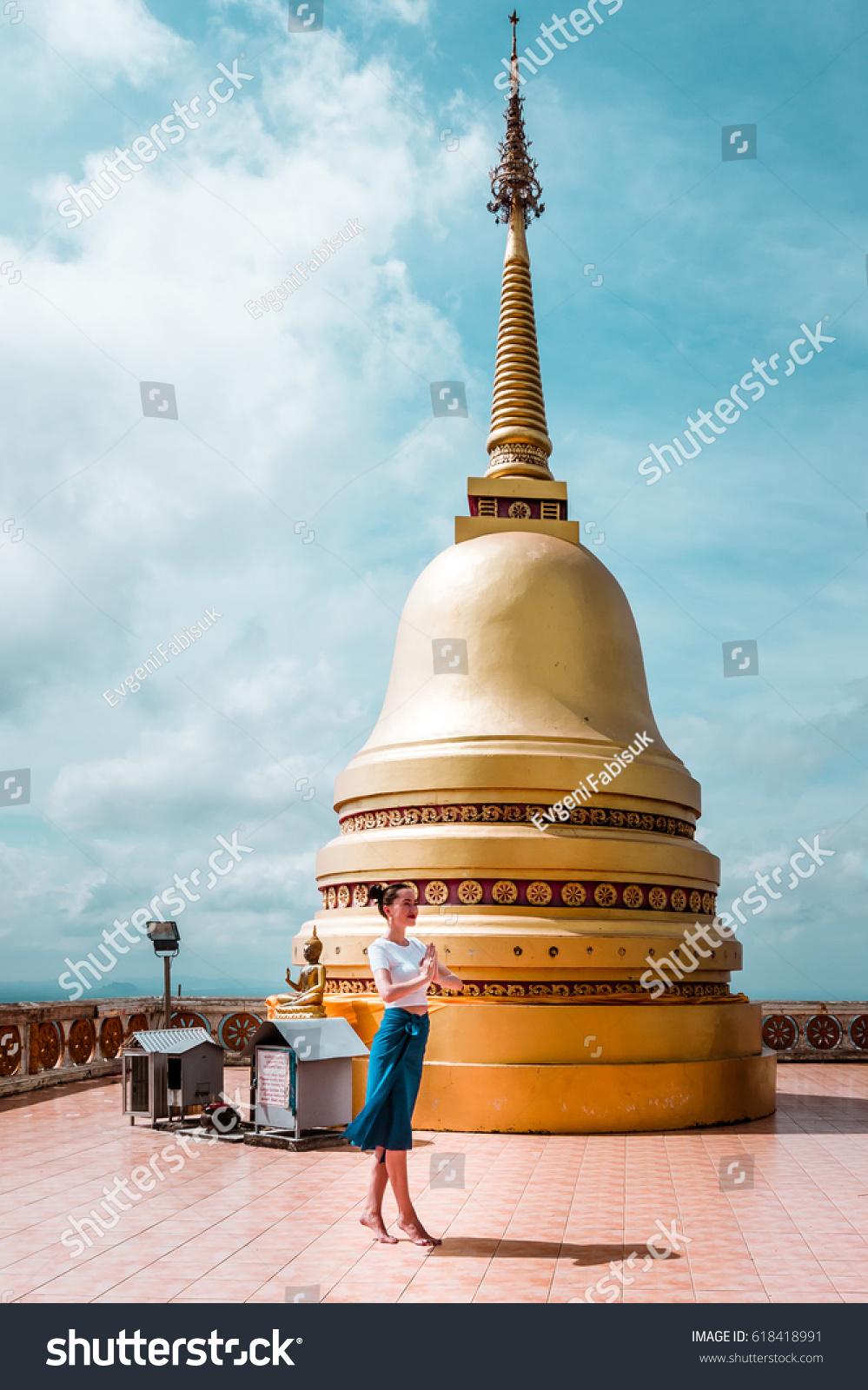 Beautiful Young Model Greeting Pose Namaste Stock Photo Edit Now