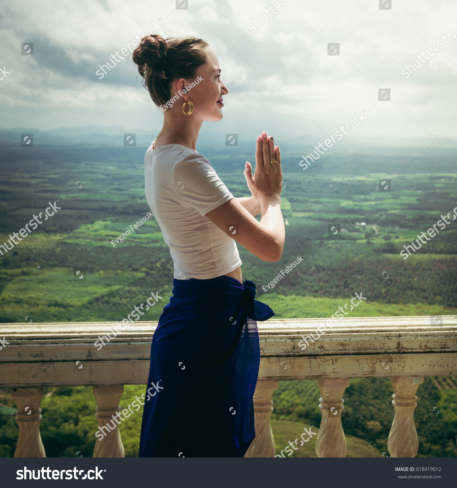 Beautiful Young Model Greeting Pose Namaste Stock Photo Royalty