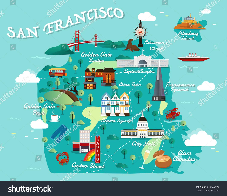 Map San Francisco Attractions Vector Illustration Stock Vector - San francisco city map tourist