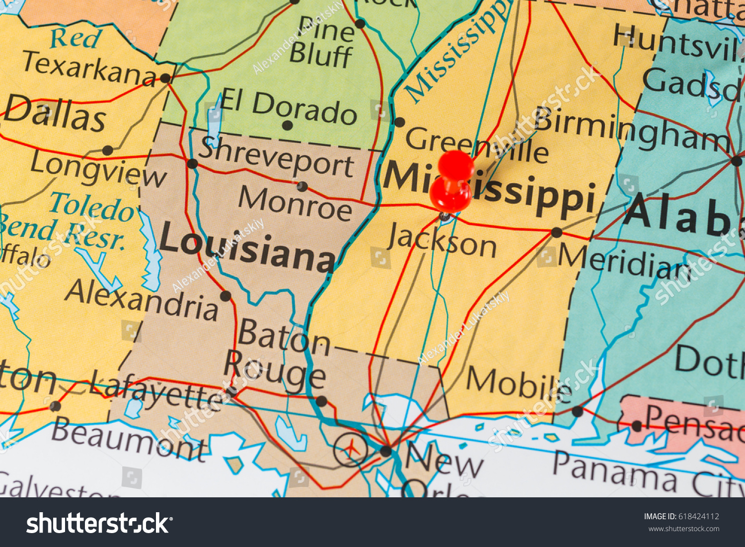 mississippi on map united states stock