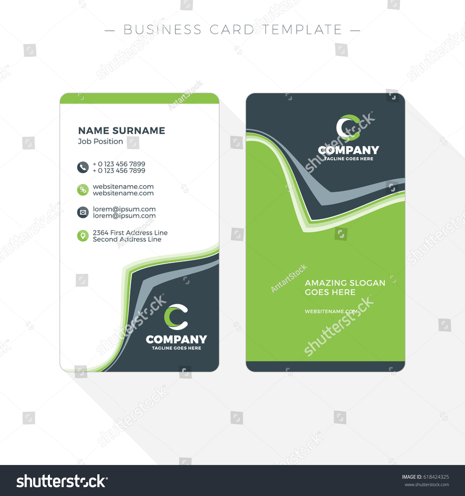 vertical doublesided business card template abstract stock vector