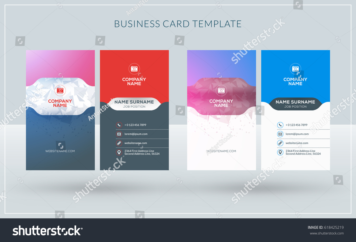 vertical doublesided creative business card templates stock vector 618425219 shutterstock. Black Bedroom Furniture Sets. Home Design Ideas