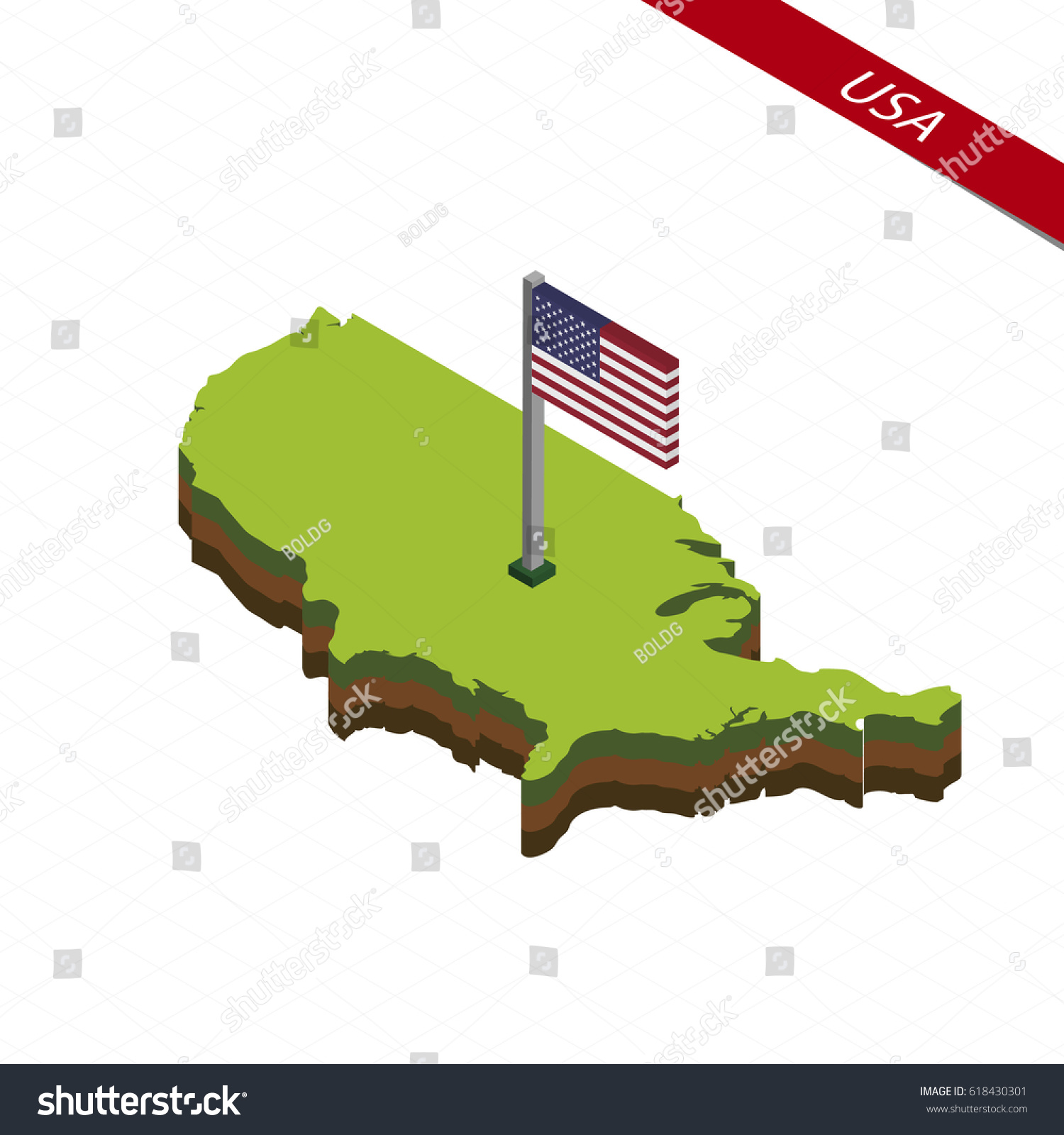 Isometric Map Flag Usa D Isometric Stock Vector - Usa map shape