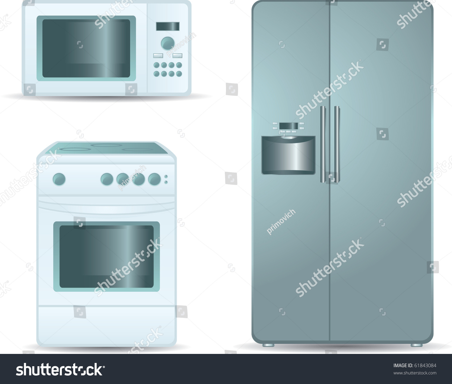 Side By Side Oven And Microwave: Cooking Stove Microwave Oven Refrigerator Sidebyside Stock