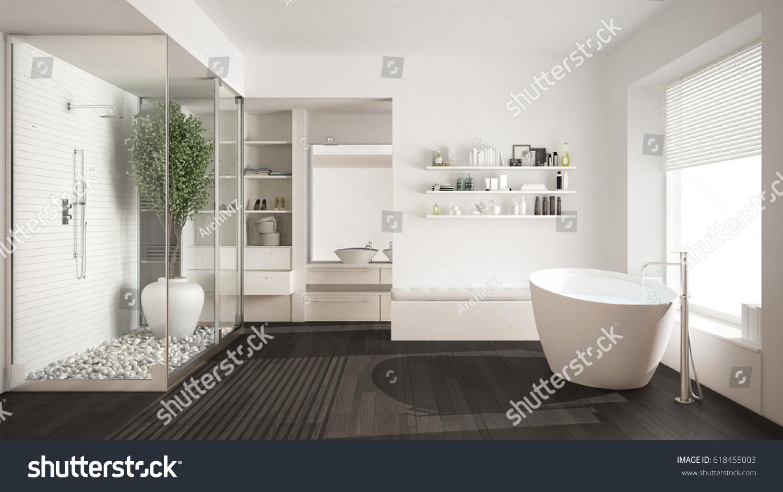 Minimalist White Scandinavian Bathroom With Walk In Closet, Classic  Scandinavian Interior Design, 3d