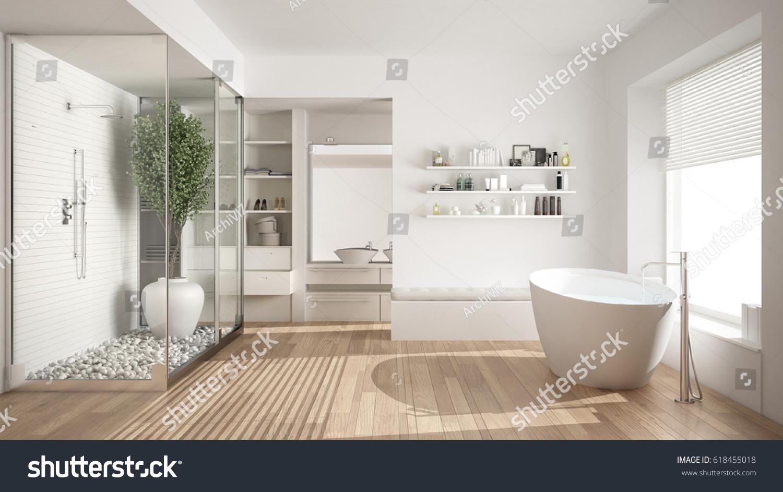 Minimalist White Scandinavian Bathroom Walkin Closet Stock ...